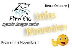 Infos: Novembre 2019 et retro Octobre